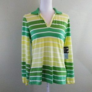 IZOD Green Striped 100% Cotton Long Sleeved Top L